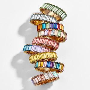 Bijoux de mode Rainbow Square Baguette Cz Bague de Fiançailles pour Femmes Coloré Cubic Zircon Cz Éternité Bague