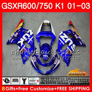 8Gifts Vücut İçin SUZUKI gsxr750 GSXR 600 750 GSXR600 01 02 03 4HC.0 GSXR600 K1 GSX R750 gsxr750 2002 2003 2001 Fairing kiti Yeni Fabrika mavi
