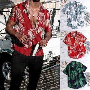 AU homens do estilo da camisa havaiana VEADO PRAIA HAVAÍ ALOHA SUMMER PARTY extravagante de feriado Blusa Blue Black Red M-3XL