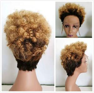 Glueless curto Lace Wig 1B 27 Curly Humano Brasileiro Cabelo Curto Pixie Cut rendas frente perucas para mulheres pretas cor de mel loira Ombre Perucas
