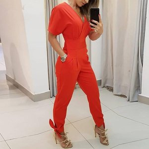 Women Sexy V Neck Short Sleeve Solid Jumpsuit 2019 Women's Jumpsuits & Rompers Women's Clothing Summer Pockets Lace up Office Rompers Casual