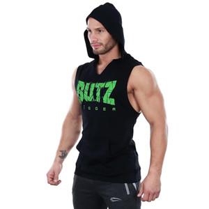 Gymnases Fitness Hommes Coton Bodybuilding Sans Manches Muscle Hoodies Vêtements D'entraînement Casual mode Sweat À Capuche Best seller