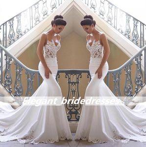 2019 correas espagueti de encaje sirena vestidos de novia satinado de encaje apliques barrido de boda vestidos de novia vestido de lujo vestido de bola