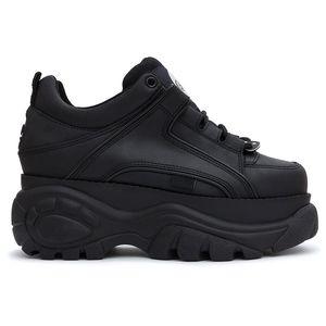 Vente-femmes chaud en caoutchouc / cuir / polyester papa chaussures original usine Buffalo Noir 1339 Chaussures de sport Plate-forme