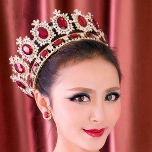 Royal Queen diadema Европа золотой кристалл диадемы короны для невесты полный круг головной убор украшения для волос свадебные аксессуары для волос LB Y200409