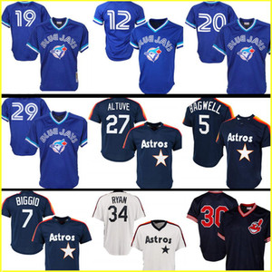 Retro malha 29 Joe Carter 12 Roberto Alomar 19 Jose Bautista Jersey 27 Jose Altuve 34 Ryan Joe Carter Baseball Jerseys