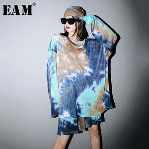 [EAM] Wide Leg Shorts Printed Big Size Two Piece Suit New Round Neck Long Sleeve Big Women Fashion Tide Spring Summer 2020 1W231 T200704