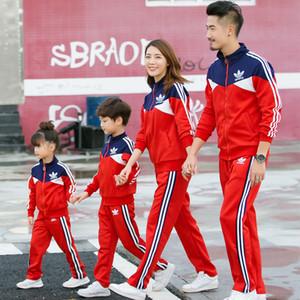 Осенью и зимой семья Matching Одежда для нарядах Спорт костюм наборы семьи взгляд отца мама мать сын и мне одежду мальчик девочка CJ191210