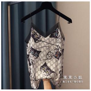 sexy spagheti pulseira gato cópia bonito decote em V de 2020 nova moda feminina colete camisola gaze solta remendado tops de cetim