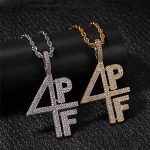 Chapado en plata de la moda de los hombres de oro 4PF colgante, collar de diamante hacia fuera helado Lab Carta Número de DJ de rap joyería del estilo de la calle Cadena