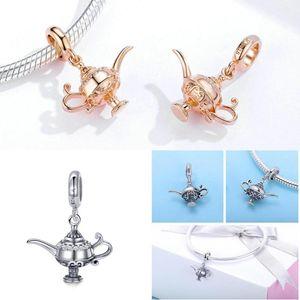 Lampe Charms 925 Aladdins bameor hängender Charme passte Original-Silber-Armbänder Rose Color Magic Design DIY Schmuck