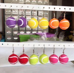 2PCS Pair Mixed Color Sport Balls Earrings Women Fashion Jewelry Tennis Ball Drop Earring Female Girls Jewelry