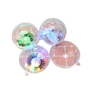 LED lumière colorée ronde Faux Cils Emballage Boîte Mink Lashes Boîtes Faux Cils Transparent boîte en plastique avec plateau