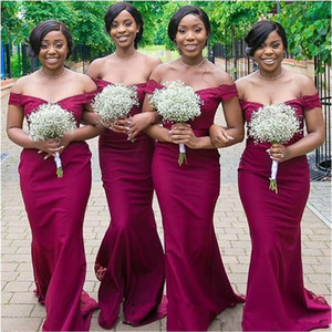 Burgundy Mermaid Bridesmaid Dresses Off Shoulder Sweep Train Lace Country Wedding Guest Gowns Maid of Honor Dress Cheap Free Shipping