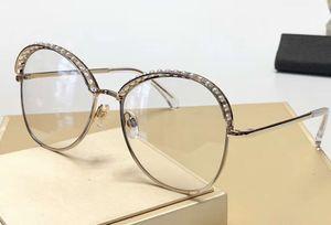 4246 Круглые солнцезащитные очки Золотой кадр Прозрачные линзы с жемчугом Оттенки Солнцезащитные очки Мода солнцезащитные очки новый с Case