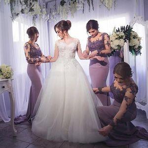 라일락 신부 들러리 드레스 긴 소매 바닥 길이 환상 목걸이 인어 들러리 드레스 긴 베스토 Dama De Honor