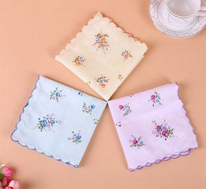 Cotton Handkerchief floreale ricamato donne Fazzoletti Fiore Lady Hankies Mini SquareScarf Boutique tasca asciugamani gratis WZW-YW3357