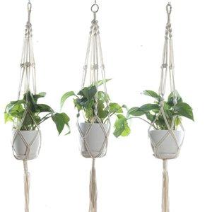 Plantes Hangers macramé Pots de fleurs Porte-corde tressée suspendu Planteur panier jardin Décor 8 Designs En option DHC295