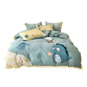 60s Cotton Green Cartoon Kids Duvet Cover Children's Bedding SET Cute Dinosaur BABY Twin Bedding Set 3pcs Bedsheet Pillowcase