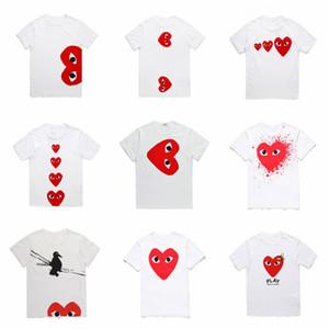 2019 toptan en Kaliteli Sıcak TATİL Kalp Emoji Japon Beyaz Siyah Polka Dots Kalp Beyaz T-shirt Gri Beden S-XL istemi karar