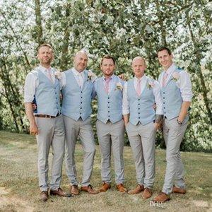 2020 Klas Yeni Damat Yelek Country Style Düğün sağdıçlar en Kıyafet Yelek Custom Made Boy Balo Parti Kıyafet Gök mavisi