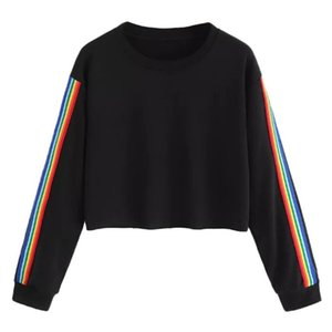 KLV Womens Long Sleeve Rainbow Stripe Patchwork O Neck Casual Blouse Crewneck Women's Sweatshots Sexy Cropped Pullover Tops