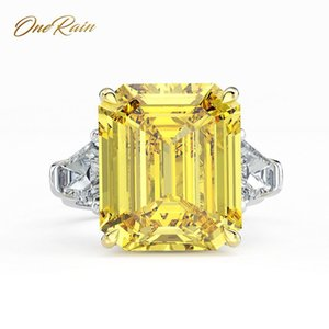 Onerain Classic 100% 925 plata esterlina 14 * 16 Mm Moissanite Anillo de bodas de boda de compromiso Cóctel Pareja Tamaño 5-12 J 190430