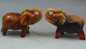 9.5 cm * / редкий янтарный мир Китая реалистичные резьба пара статуи слона