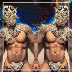 Hommes DJ Danseur Costume Voir Nightclub strass Costumes Ds Pold Dance Party Bar Stage Porter Festival Singers Hommes Tenue DN4566