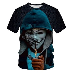 2020 new personalized T-shirt V-shaped vendetta printing T-shirt 3D men's round neck top fashion men's short sleeve