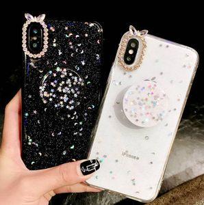 Luxo Glitter diamante capa para o iPhone X XS Max XR7 / 8 / aperto Casos de telefone Além disso strass 3D Stand Holder