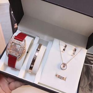 señoras del vestido del mejor regalo de San Valentín de la manera superior 5 juegos incluyendo relojes, pulseras, pendientes, anillos, collares reloj de diamantes para las mujeres