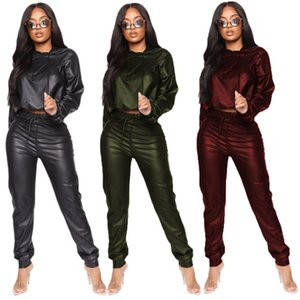 Sólido diseño para mujer de color 2PCS pantalones de la PU de manga larga con capucha lápiz de los pantalones para mujer 2PCS Setrs Casual hembras Ropa