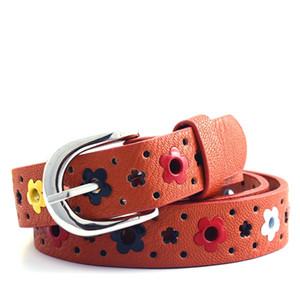 Cute Kids Children Boys Girls Hollow Flower Waistband Faux Leather Belt Buckle Apparel Accessories P1