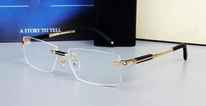 Neue Stil Randlose Brille Breite Spektakel Männer Quadratische Brillenrahmen 0349 Titan Gläser Verordnungslinien Linse Optische Rahmenbrillen