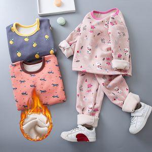 Girls Winter Homewear Children Underwear Fleece Warm Boys Girls Thermal Underwear Set 6 8 Years Kids Thermal Underwear Costume Y200704