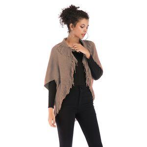Womens Cape Poncho Coat Tassel 카디건 숄 랩 스카프 니트 스웨터 점퍼 가디건 Cloak Jacket