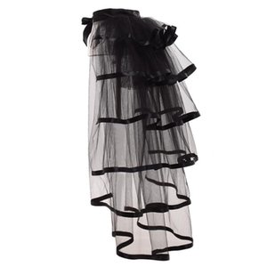 Party Tutu Tail Tiered Tulle Skirt Burlesque Steampunk Black Mesh Ruffle Layered Detachabl Bustle Over-skirt