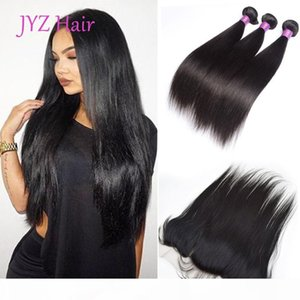 Indian hair 3 bundles with 1pc lace frontal Human virgin hair Staright Hair Wefts With Closure 13X4 Lace Front Weaves