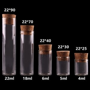 4 ml / 5 ml / 6 ml / 18ml / 22ml pequeño tubo de ensayo con tapón de corcho Botellas Frascos viales arte de DIY 100piezas T200506