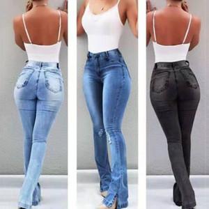 2020 Sonbahar Moda Kadınlar Denim Kot Kadınlar Için Yüksek Bel Düz Kot Yan Bölünmüş Vintage Kadın Uzun Pantolon Capris # G30