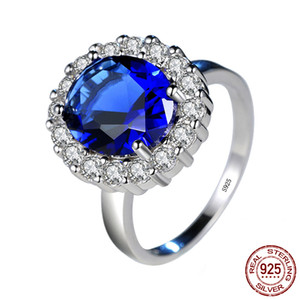 Princesa Diana William Kate Azul circón cúbico anillos de compromiso para la joyería de las mujeres anillo de bodas de plata esterlina 925 Regalo XR234
