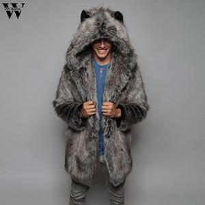 Womail Ceket Moda Sıcak Kalın Kaban Ceket Sahte Kürk Parka Dış Giyim Hırka Palto erkekler ceket 20190817 Mens