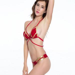 popolare sexy di alta sport di vita Bikini regolati bikini solido di un pezzo del triangolo split con il reggiseno senza supporto in acciaio a tenuta durevole yakuda flessibile
