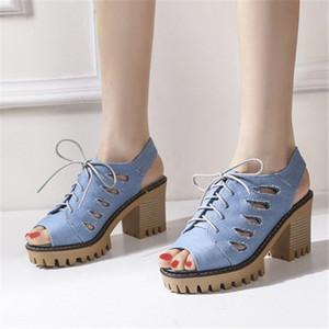 Сандалии PXELENA ROME HALLOW OUT Женские гладиаторские джинсовые блок коренастые высокие каблуки Peep Toe Gothic Punk Rock Jeans обувь синее кружевное