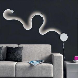 Творческий Акриловые Curve свет змейки LED настенный светильник Nordic Led Belt Wall Бра спальня коридор стены гостиницы светильники
