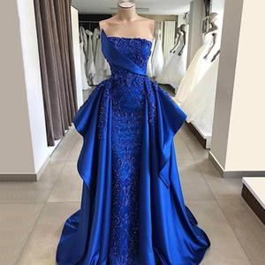 Люкс Royal Blue Русалка Вечерние платья со съемным поездом Кружево Аппликации из бисера кристаллов платья выпускного вечера официально платье вечер партия платье
