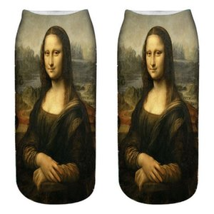 Новый 3D Print Designer Известные картины серии Мона Лиза Унисекс Короткие носки Творческий Красочный Multiple Счастливый низкий носки Для женщин Mens