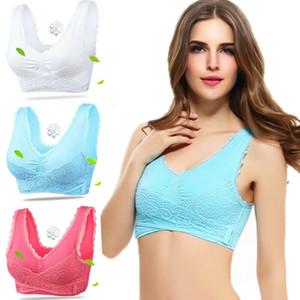 Hot Ladies Underwear Seamless Lace Patchwork Lovely Fashion Bra estiramento dianteiro Cruz Buckle Side