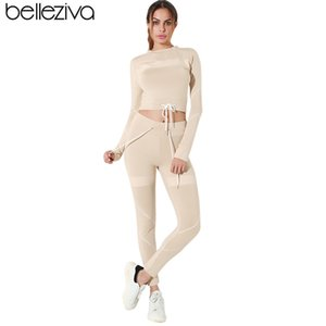 Belleziva 2pcs yoga de manga larga conjunto empalmado con cordón Crop Top Running traje pantalón Mujeres Sport Fitness Gym delgado entrenamiento chándal T200530